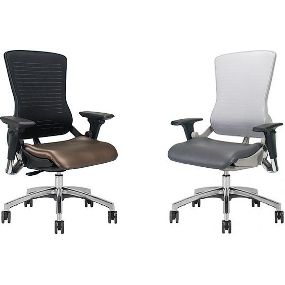 OM5-EX Gaming Chairs in Brown and Grey Leather Seats