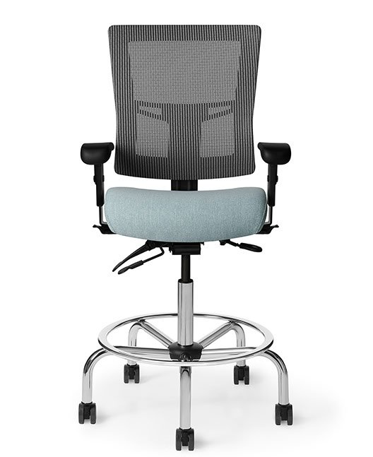 Front view of Office Master AF513 Affirm Simple Mid-Back Fixed Foot Ring Stool