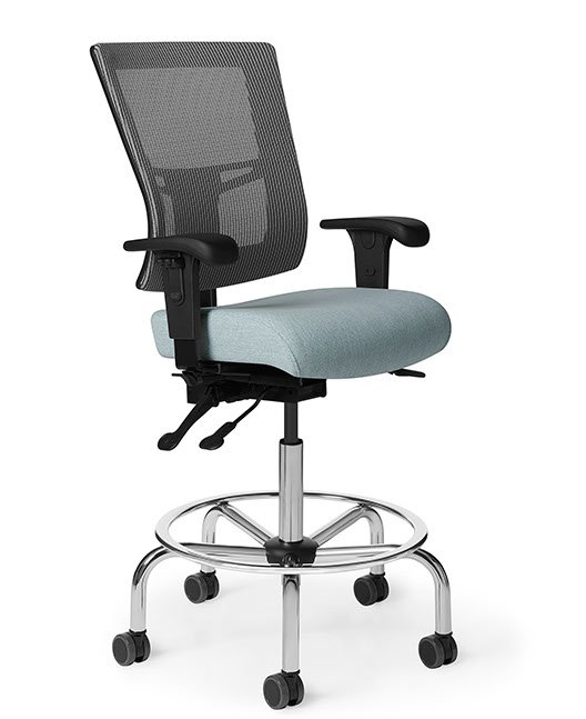 Side view of Office Master AF513 Affirm Simple Mid-Back Fixed Foot Ring Stool