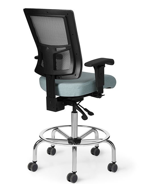 Back view of Office Master AF513 Affirm Simple Mid-Back Fixed Foot Ring Stool