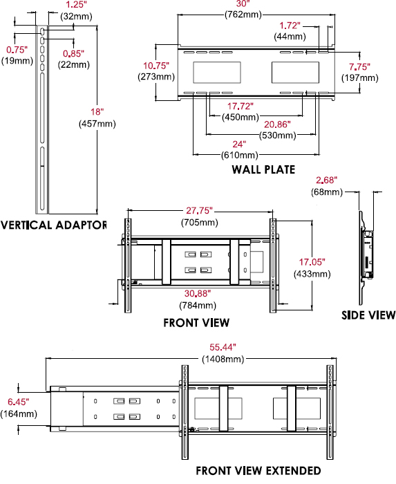 Technical Drawing for Peerless DMU50SM-02 Slide Out Wall Mount with Media Player Storage