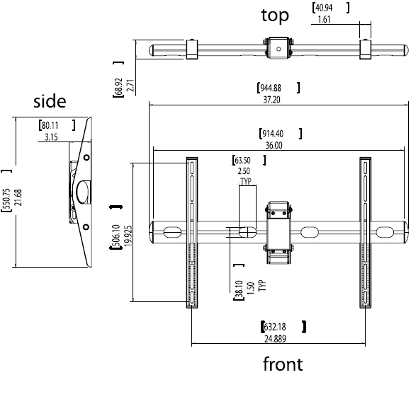 Technical Drawings for Premier ECM-3763S Flat Panel Ceiling Mount up to 63""