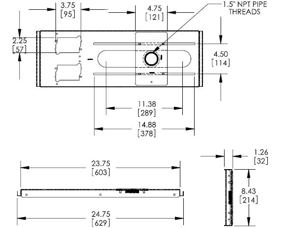 Technical Drawings for Premier PP-FCTA-QL Hidden False Ceiling Adapter