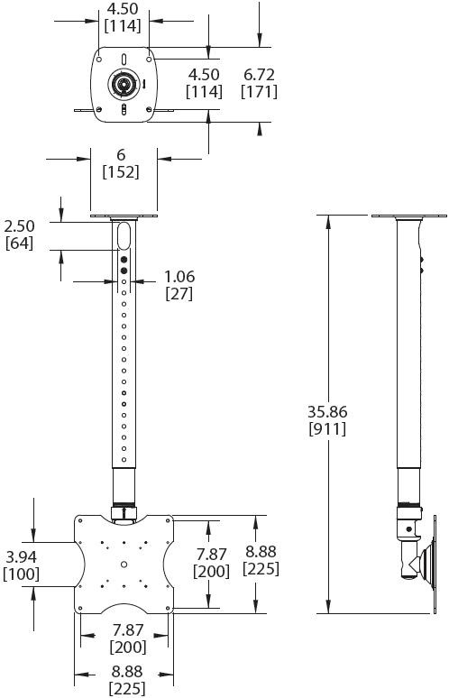 Technical Drawings for Premier PRC-326 or PRC-333 Adjustable Ceiling Mount