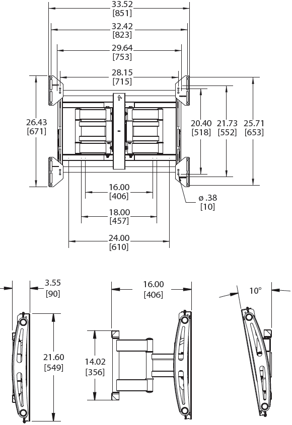 Technical Drawings for Premier AM175 Articulating Swingout Wall Mount Arm