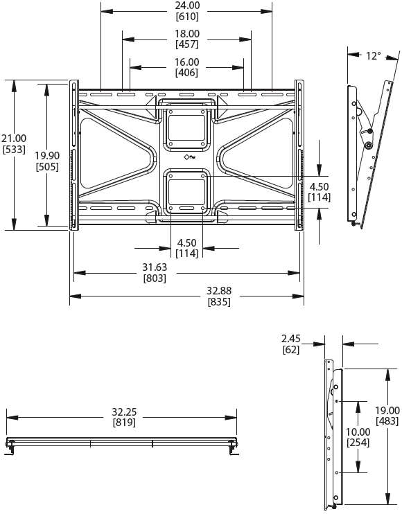 "Technical Drawings for Premier CTM-MS2 Tilting Wall Mount up to 63"" Displays"