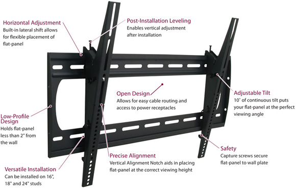 "Premier P4263 T Universal Flat Panel Tilt Wall Mount up to 63"" Flat Panel Displays"