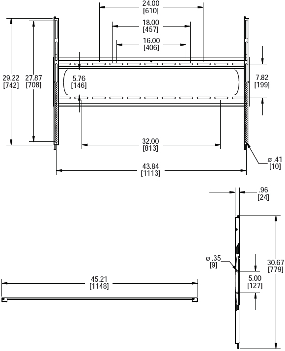 "Technical Drawing for Premier P5080F Low-Profile Wall Mount up to 80"" Displays"