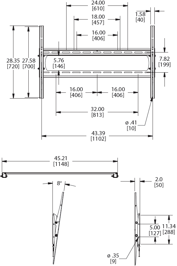 Technical Drawing for Premier P5080T Tilting Low-Profile Wall Mount