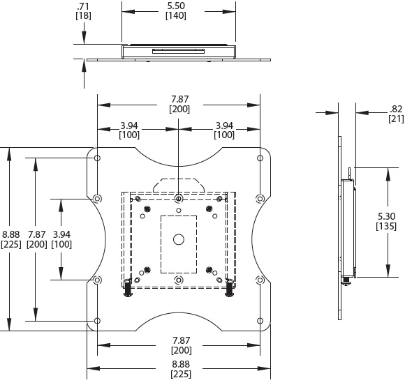 Technical Drawings for Premier PRF Flat Panel VESA Wall Mount up to 40 inch Displays