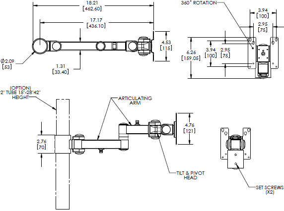 Technical Drawing for Premier MM-A1 Single LED Articulating Arm