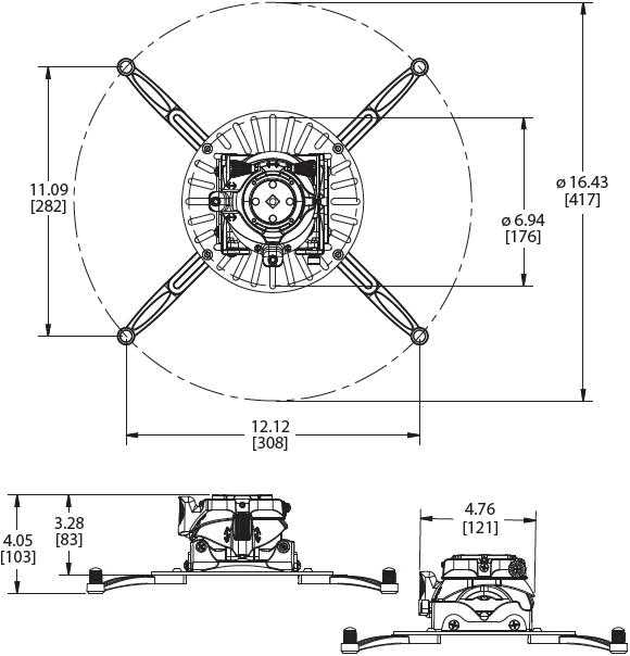 Technical Drawings for Premier FTP or FTPW Fine Tune Projector Mount