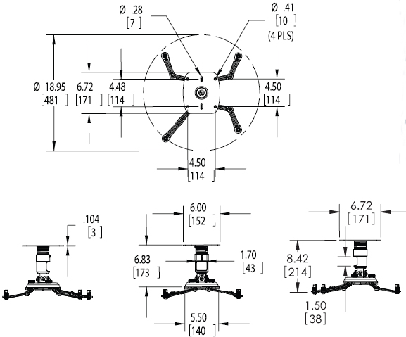 Technical Drawings for Premier PBC UMS or PBC UMW Projector Mount