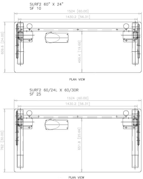 Technical Drawing for SIS SURF2 Rectilinear 2-leg Electric Adjustable Desk