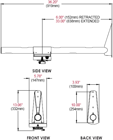Technical Drawing of Peerless PSTA-028 Ultra Short Throw Projector Mount
