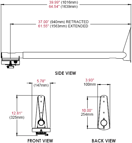 Technical Drawing of Peerless PSTA-2955 Short Throw Projector Kit