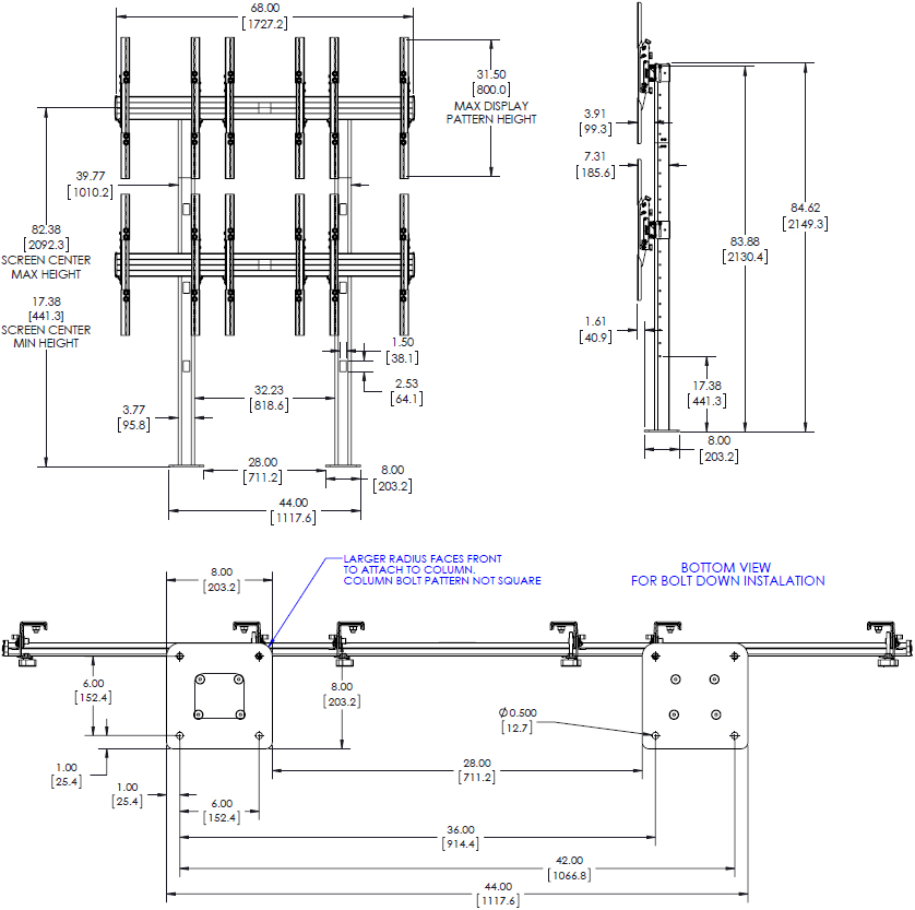 Technical Drawing for Chief LBM3X2UP 3x2 Portrait Bolt-Down Freestanding Video Wall