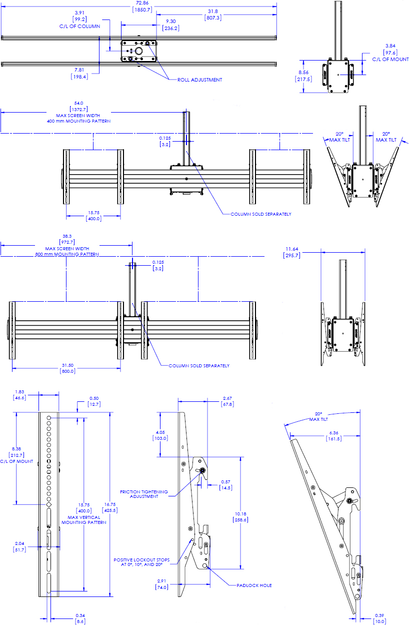 Technical Drawing for Chief LCB2X1U FUSION Large Back to Back Ceiling Mounted 2x1 Menu Board