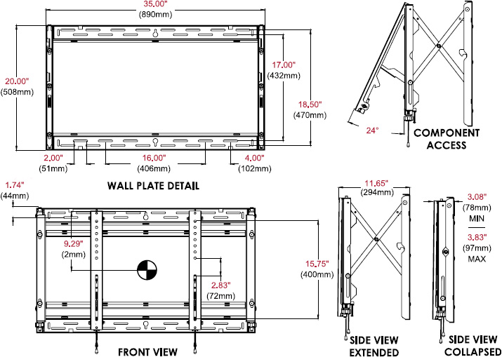 Technical drawing for Peerless DS-VW765-LAND Full-Service Video Wall Mount - Landscape