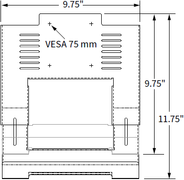 Technical drawing for Workrite MON-LTH2-ADJ-S Universal Laptop Holder