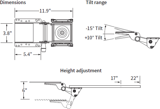 Technical Drawing for Workrite 173-17N or 173-22N Fundamentals Arm