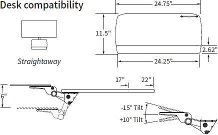 Technical Drawing for Workrite AKP01 Fundamentals Adjustable Keyboard Platform System