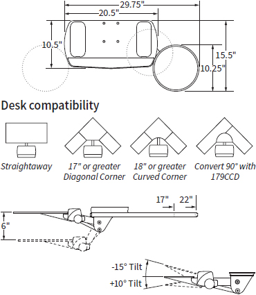 Technical Drawing for Workrite AKP02 Fundamentals Adjustable Keyboard Platform System