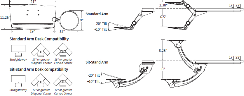 Technical Drawing for Workrite LEADER5 Standard or LSS5 Sit-Stand Keyboard Tray System