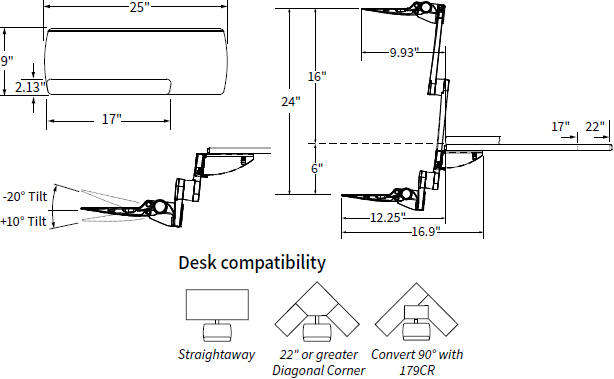 Technical Drawing for Workrite 2472 S2S Compact Height Adjustable Keyboard Platform
