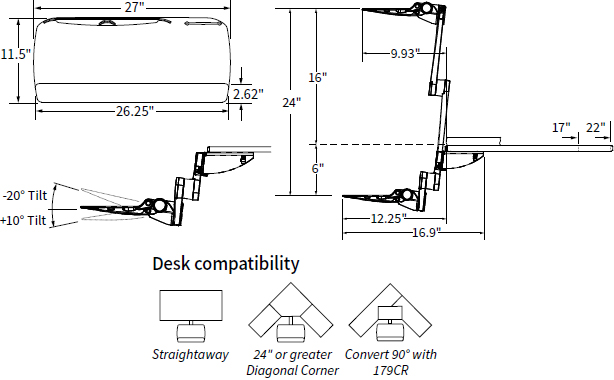 Technical Drawing for Workrite 2485 S2S Ultrathin Height Adjustable Keyboard Platform