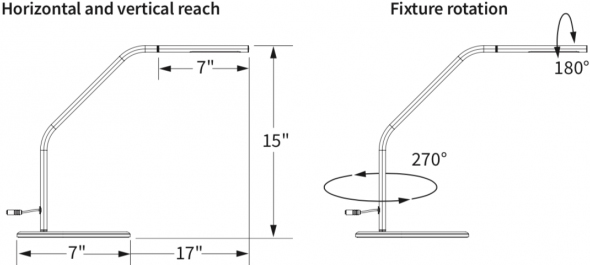 Technical drawing for  Workrite FD2-DL10-S Fundamentals 2 Efficient LED Desk Light