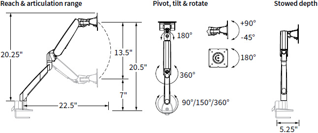 Technical drawing for Workrite CONF-1HDA-WOB-S Conform Heavy Duty Articulating Arm