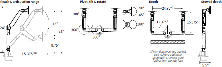 Technical drawing for Workrite CONF-2SDA-WOB-S Conform Dual Articulating Monitor Arm
