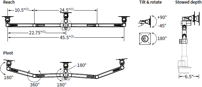 Technical drawing for Workrite CONF-3SDS-WOPB-S Conform Triple Static Monitor Arm