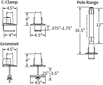 "Technical drawing for Workrite CONF-PB-14CCG-S Conform 14"" Pole, C-Clamp & Grommet Base"