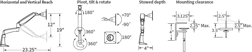 Technical drawing for Workrite PA1000 Smooth and Versatile Poise Single Monitor Arm