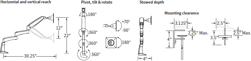 Technical drawing for Workrite PA1500-DB Poise Extended Flat Panel Monitor Arm