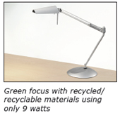Green focus with recycled/recyclable materials using only 9 watts