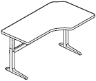 Workrite Sierra Pin Offset Corner 2 Legs Height Adjustable Tables and Desks
