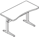 Workrite Sierra Pin Rectangular Concave Front Height Adjustable Table and Desk