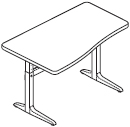 Workrite Sierra Pin Rectangular Curved Front Height Adjustable Table and Desks