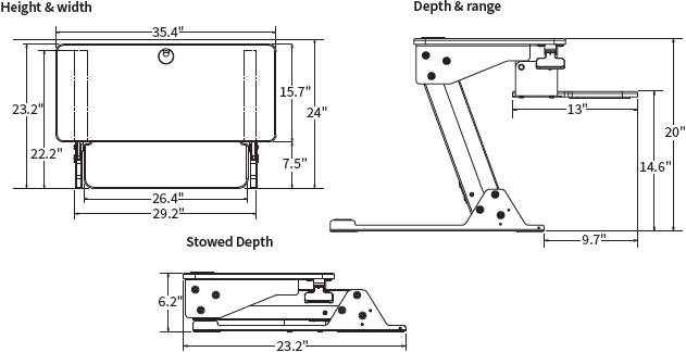 Technical Drawing for Workrite SOL-DT-B Solace Desktop Sit-Stand Workstation