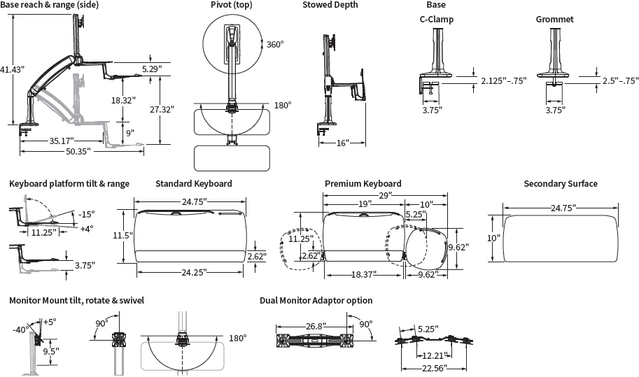 Technical Drawing for Workrite Solace 2 Single or Dual Monitor Sit-Stand Workstation