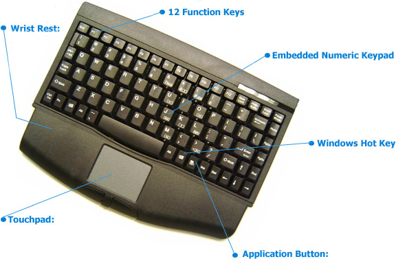 Adesso ACK-540UB or ACK-540PB Mini-Touch Keyboard with Touchpad Black
