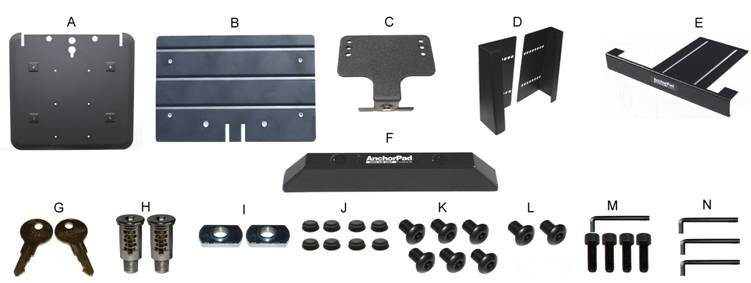Components of AnchorPad 31177 BP Notebook Laptop Security Stand