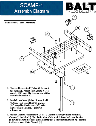 Detailed installation instructions of the Balt Scamp Laptop Stand System