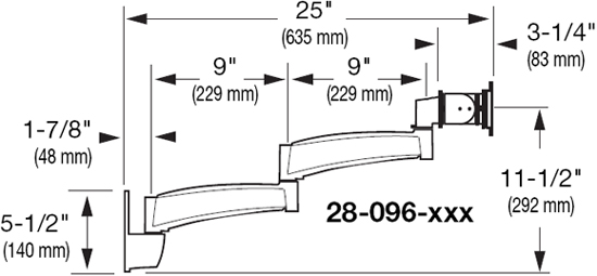 Dimensional Diagram for 200 Series Wall Mount Arm