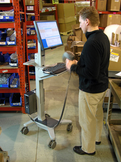 Ergotron 24-182-055 Neo-Flex Mobile WorkSpace used in warehouse