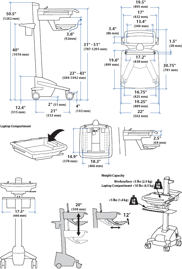 Technical Drawing of Ergotron SV41-41004 StyleView EMR Laptop Cart, non-powered