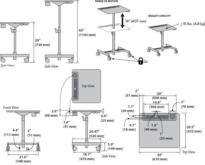 Technical Drawing for Ergotron 24-687-057 LearnFit SE Sit-Stand Desk, Short